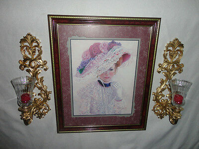 Home Interiors '' Victorain Lady in Hat '' Picture & Sconces  Gorgeous 7pc