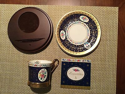 Vintage 1995 Avon Honor Society Mrs. P.F.E. Albee Teacup and Saucer with Stand.