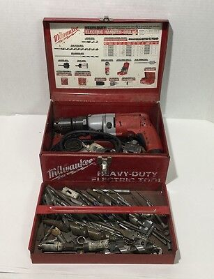Milwaukee Magnum Hammer Drill 5370-1 wMetal Case & Lots of Drill Bits -Great Set
