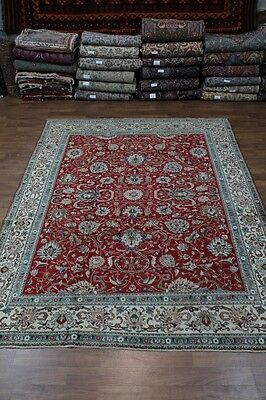Allover Floral Handmade Red Tabriz Persian Wool Oriental Area Rug Carpet 10X13
