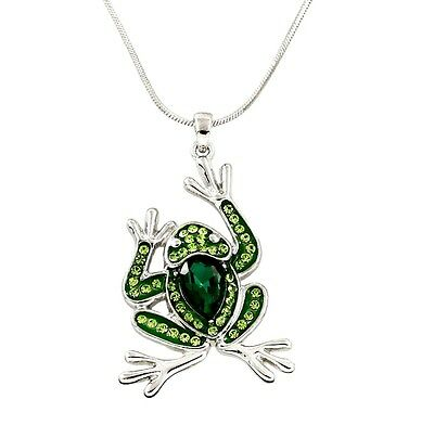 Silver Tone Toad Frog Pond Costume Pendant Necklace Sweater Long Chain Jewelry