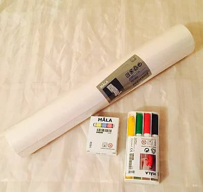Ikea Mala Easel Essential Set: Drawing Paper Roll, Whiteboard Pens And Chalks