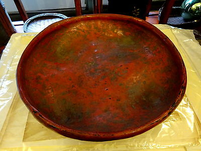 Antique 19th c Thai Burmese Large Red Lacquer Serving Bowl Kwet Shallow