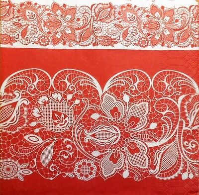 4 x single PAPER NAPKINS - red lace - DECOUPAGE AND CRAFT-86