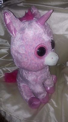 """Collectible TY BEANIE BOOS JUMBO 17"""" ( ROSEY ) PINK UNICORN JUSTICE EXCLUSIVE"""