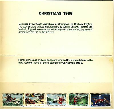 "1986 Christmas Island Presentation Folder MNH with complete ""Santa Claus"" set"
