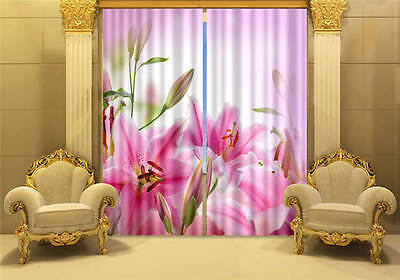 Pink Lilies Blooming 3D Blockout Photo Printing Curtains Draps Fabric Window