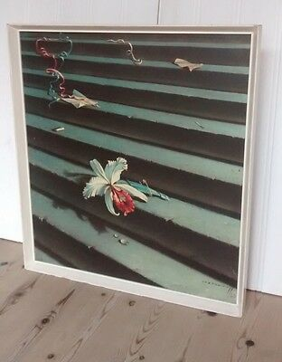 "Vintage 1960s 'Lost Orchid' Trechikoff Mid Century Framed Print 20"" x 22"""