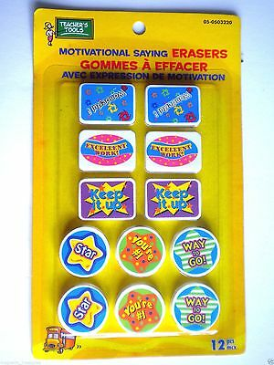 "Pkg. Of 12 Teacher's Tools ""motivational Sayings"" Erasers ~ #3"