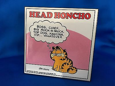 Vintage Garfield Enesco HEAD HONCHO Standing Ceramic Table Plaque 1978