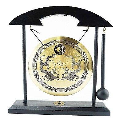 Zen Table Gong Dragon with Taiji Symbols Feng Shui Meditation Desk Bell Home Dec
