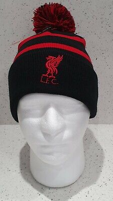 Liverpool Official Brand 47 Bobble Hat - Black and Red Stripe - Adult Size