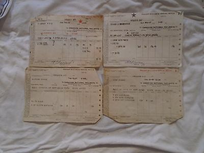 4 1940's CNR Canadian National Railways Freight Bills/ Arrival Notice (Invoice)