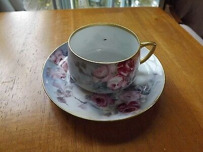 Very Old Hand Painted, Signed RS Prussia Cup and Saucer. One of a Kind Special