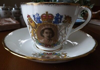 Adderley Elizabeth II Coronation Cup and Saucer - Excellent Condition