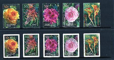 2003 Blooms Australian Cultivars Complete Set Of 10 Used, Sheet & P/S