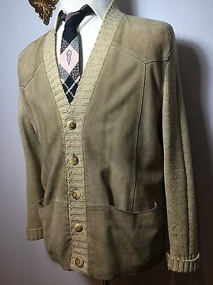 vtg SIBLEY'S Mens Wool Suede Button Cardigan Sweater Jacket Rockabilly Sz L 44