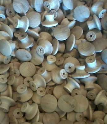 """25 ROUND 1 1/4"""" WOOD KNOBS 2nds*NEW*Unfinished Birch Pulls Cabinet Handles"""