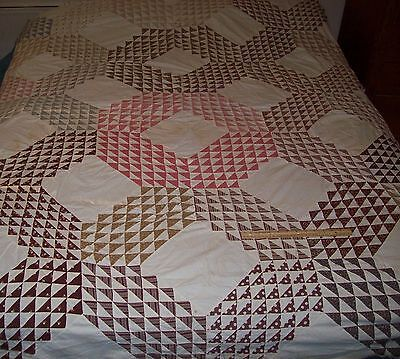 "Antique Quilt Top Ocean Wave tiny pieces 1880-1900/hand sewn 70"" x 81"""