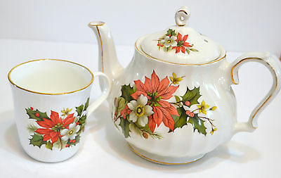 Sadler Tea Pot and Cup  Poinsettia design