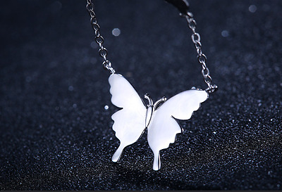 Fashion *Butterfly* 925 Sterling Silver/Rose Gold Pendant Necklace