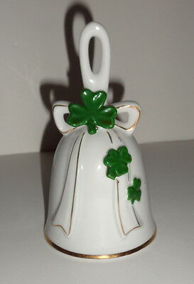 "Vintage white bell, shamrock clover detail, Irish St Patrick, 5"", Japan"