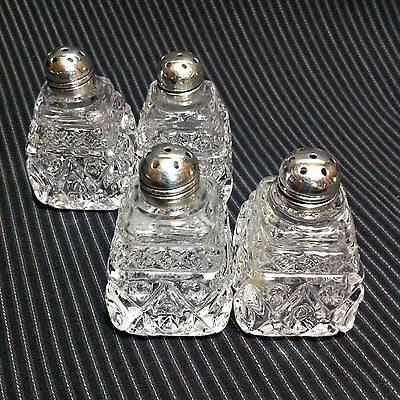 2 Sets Antique Individual Sterling Silver & Pressed Glass Salt & Pepper Shakers
