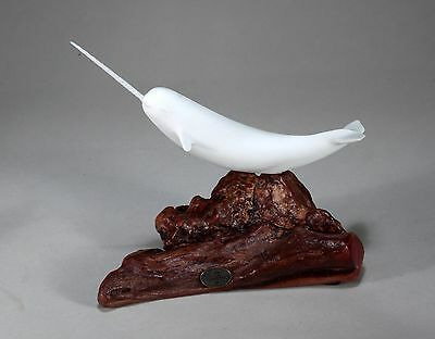 NARWHAL Sculpture New direct from JOHN PERRY 9in long on Burl Wood Statue Decor