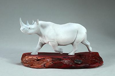 WHITE RHINO Figurine New direct from John Perry 9in long Statue on Wood Decor