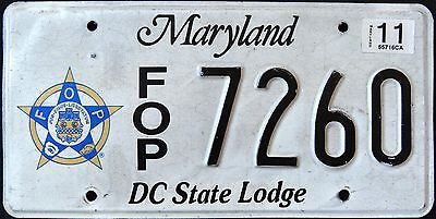 """MARYLAND """" FRATERNAL ORDER OF POLICE - FOP """" MD Graphic License Plate"""
