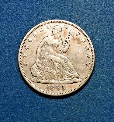 1859-O 50C Liberty Seated Silver Half Dollar Au Almost Uncirculated Condition