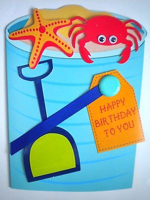 """C.R.Gibson ~ """"AT THE BEACH"""" BIRTHDAY GREETING CARD & LINED DESIGNER ENVELOPE"""