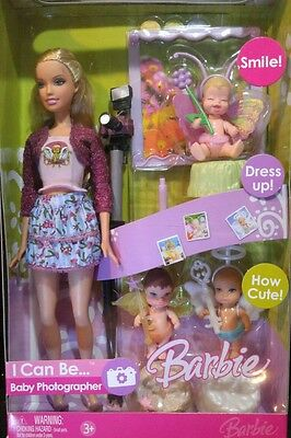 2007 Barbie I Can Be...Baby Photographer Playset - NRFB - Doll, Babies, Camera +