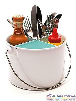 NEW RETROKITCHEN ENAMEL CUTLERY CADDY Utensil Carrier Container 3 COLOURS