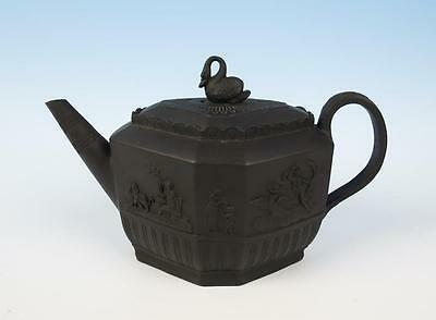 Early 19thC. English Basalt Teapot w/ Swan Finial Antique Neoclassical Black