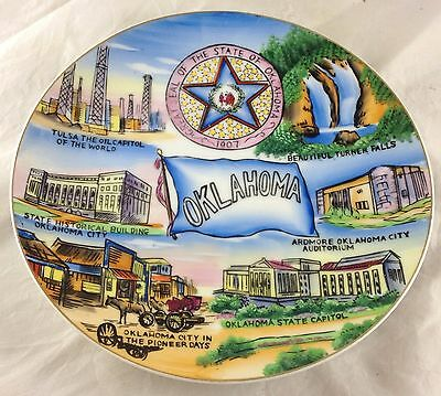 Wales Made in Japan Oklahoma Souvenir Plate Scenic Turner Falls Oil Auditorium