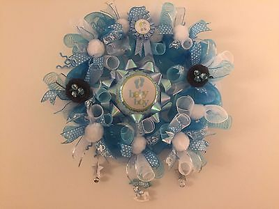 "20"" Handmade""it's a boy""Baby Shower Wreath with Baby Boy Favor Basket and Deco"