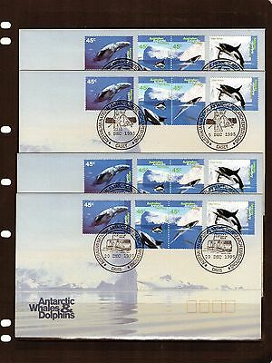 1995 AAT Whales & Dolphins Set Of 4 Base cancel Set Of FDC, Mint Condition