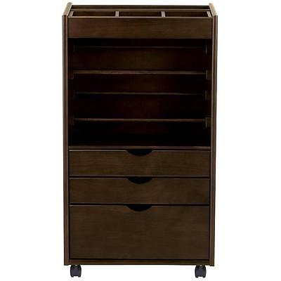 20 in. Rolling Storage Wrapping Cart Organizer Crafted Solid Hardwood Chestnut