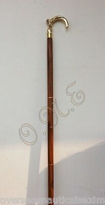 Antique Brass Victorian Designer Wooden Walking Stick Cane Vintage Gift for Men