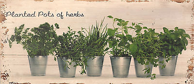 Wall Art Wooden Sign Herbs French Provincial Rustic Antiqued Home Decor 100cms
