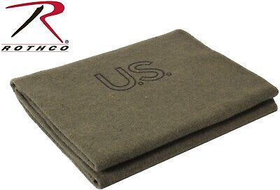 "Military Issue Wool Blanket 62"" x 80""  Military Army Wool Blank Made In The USA"