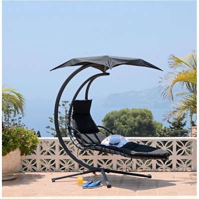 Helicopter Swing Chair Black Outdoor Seat Relax Seater Balcony Hammock Patio