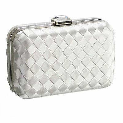Silver Ivory Black Box Style Satin Clutch Bag Wedding Evening Prom Party New