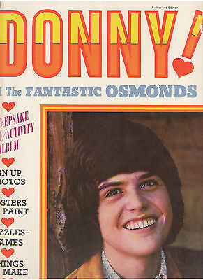 Donny Osmond Pictorial Activity Album Coloring Authorized Edition Posters Rare!!