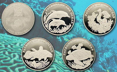 2001 ZAMBIA 4000 kwacha Patrons of the Ocean 4 Silver Proof coins set