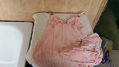 Ann Summers Ellie Frilled Chemise + Briefs Pink With Black Bows Size 18 - 20 NWT
