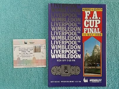 1988 - FA CUP FINAL PROGRAMME + MATCH TICKET - LIVERPOOL v WIMBLEDON