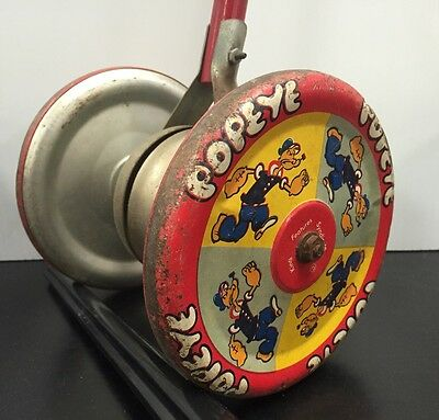 Rare Vintage Popeye Tin Litho Walker Bell Toy, King Features Syndicate