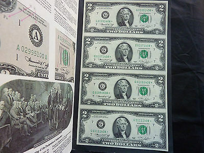 1976 USA United States $2 Banknote Uncut Sheet of 4 Star Banknotes in Folder